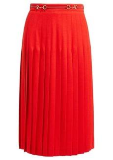 Gucci Horsebit-waistband pleated wool-blend skirt