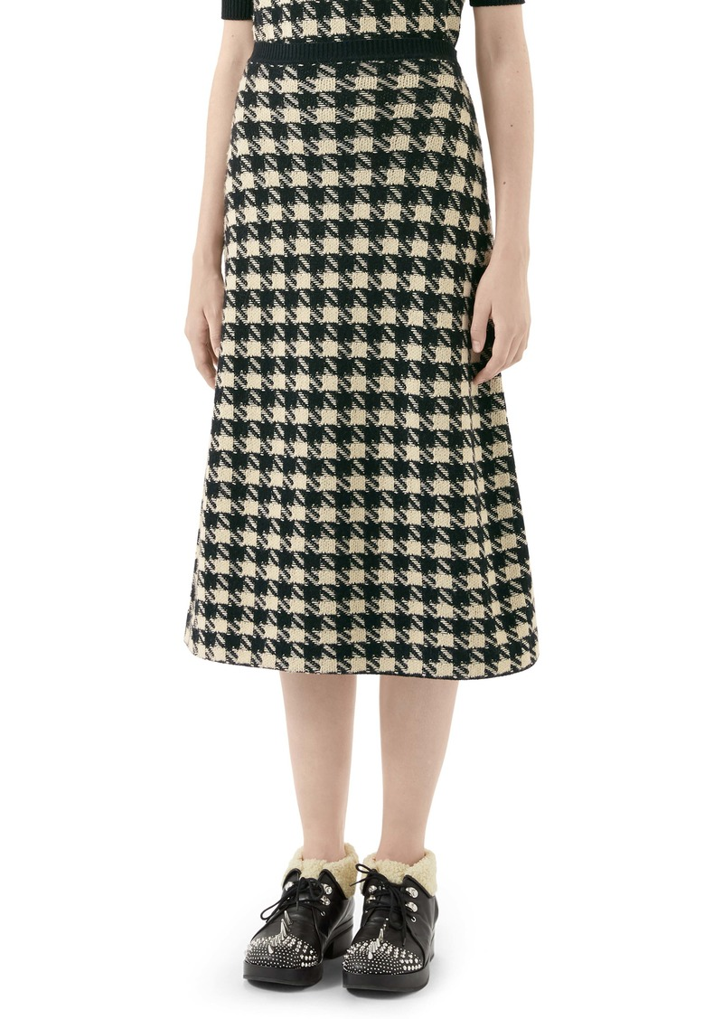 Gucci Houndstooth Jacquard Cashmere & Silk Midi Sweater Skirt
