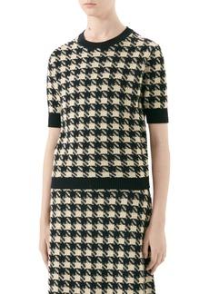 Gucci Houndstooth Jacquard Cashmere & Silk Sweater
