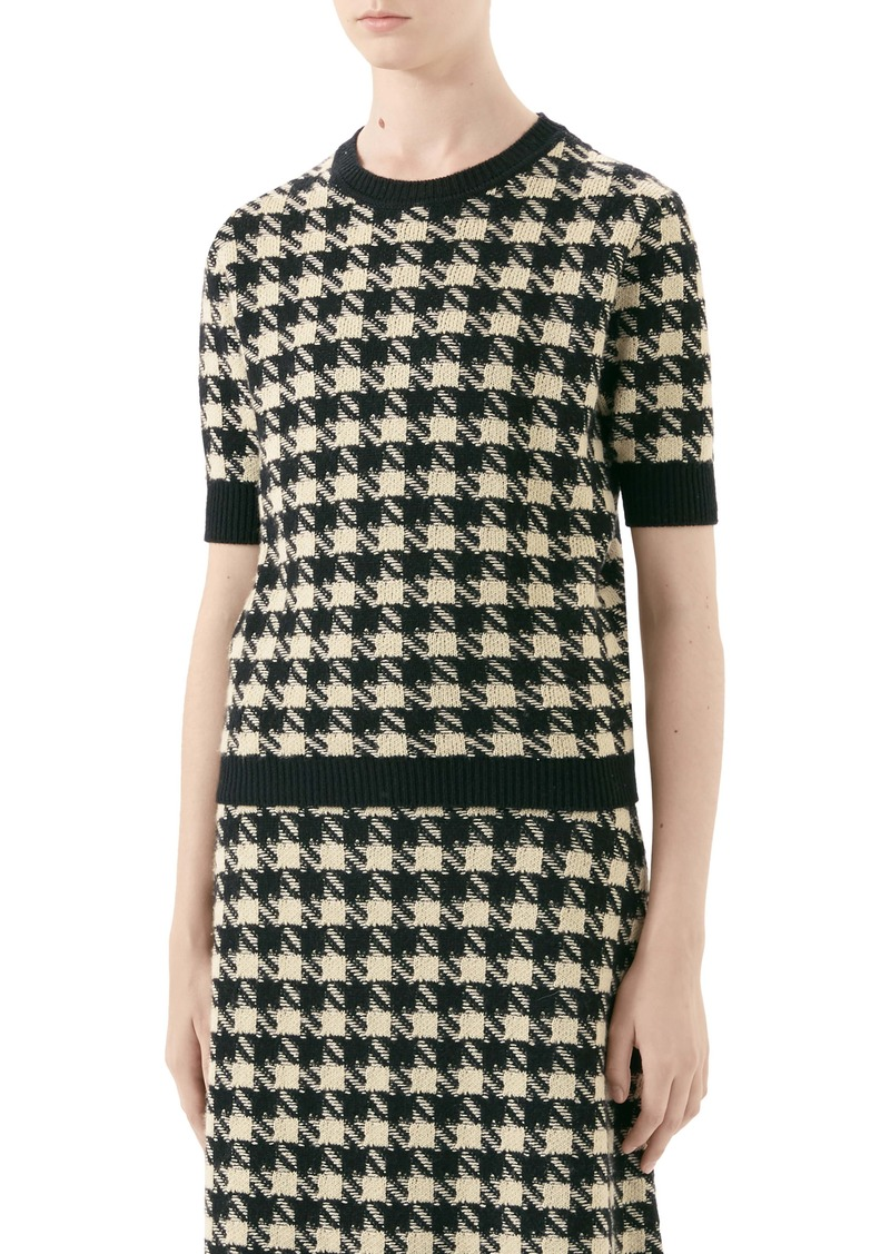 Gucci Houndstooth Jacquard Cashmere & Silk Sweater