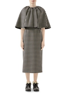 Gucci Houndstooth Midi Dress with Removable Cape