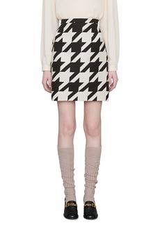Gucci Houndstooth Silk & Wool Cady Miniskirt