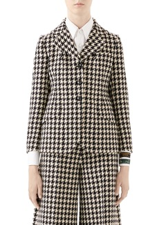 Gucci Houndstooth Wool & Cotton Blazer