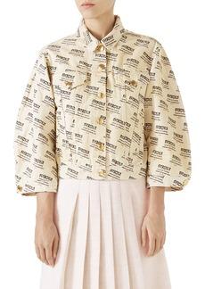 Gucci Hypnotism Logo Print Crop Denim Jacket