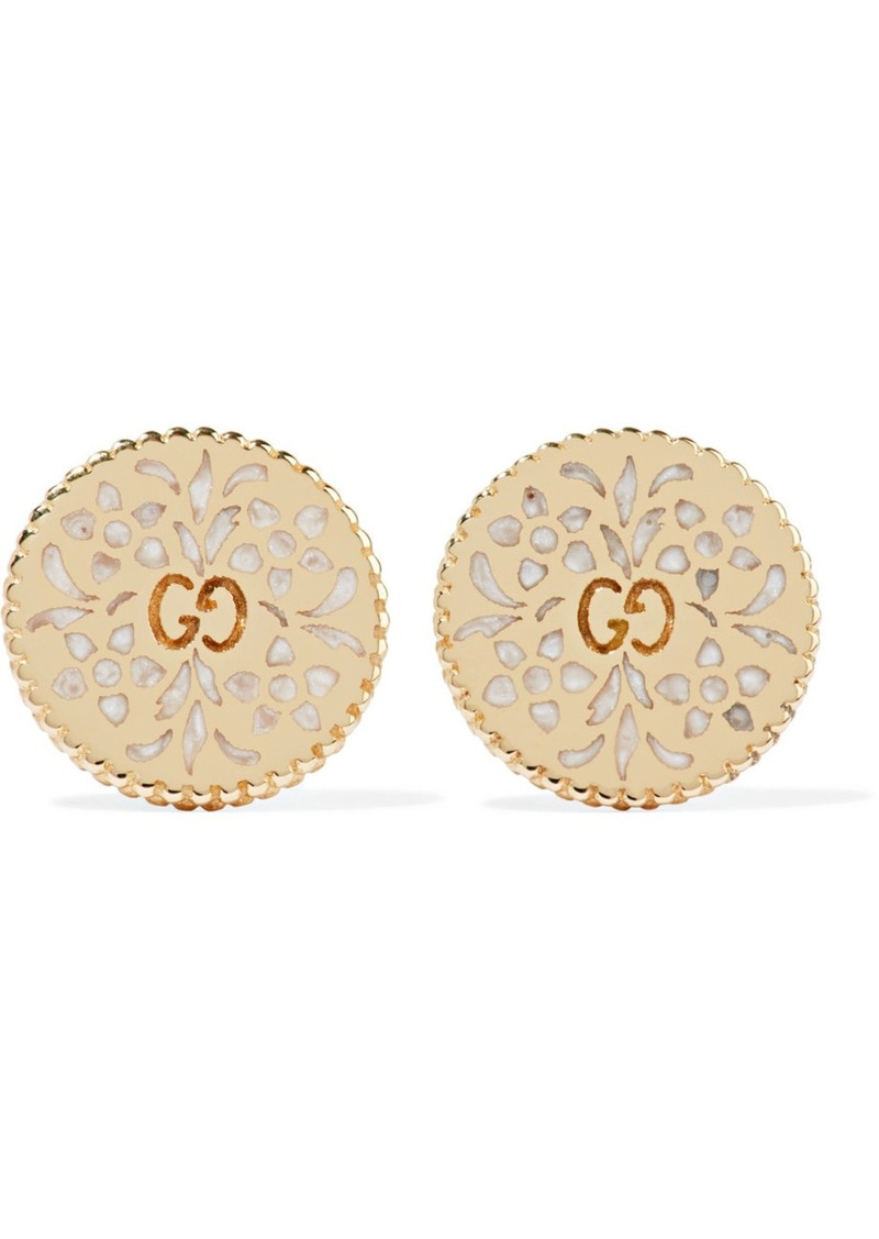 35a6d4e7f Gucci Gucci Icon 18-karat gold and enamel earrings | Jewelry