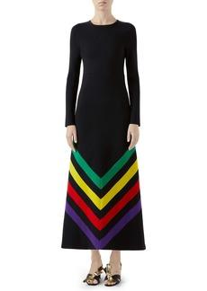 Gucci Intarsia Stripe Long Sleeve Sweater Dress