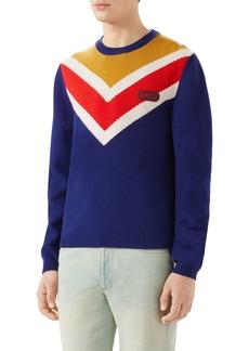 Gucci Intarsia V-Stripe Wool Sweater
