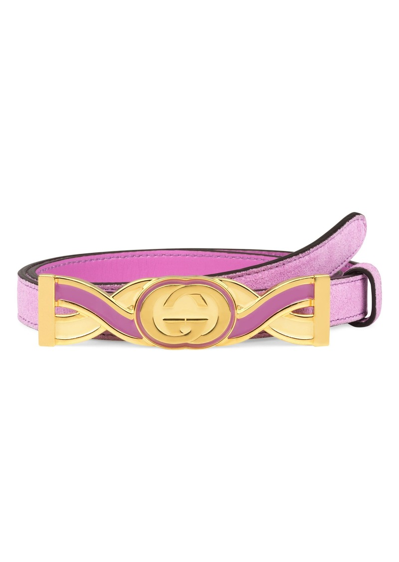 Gucci Interlocking-G Buckle Skinny Suede Belt