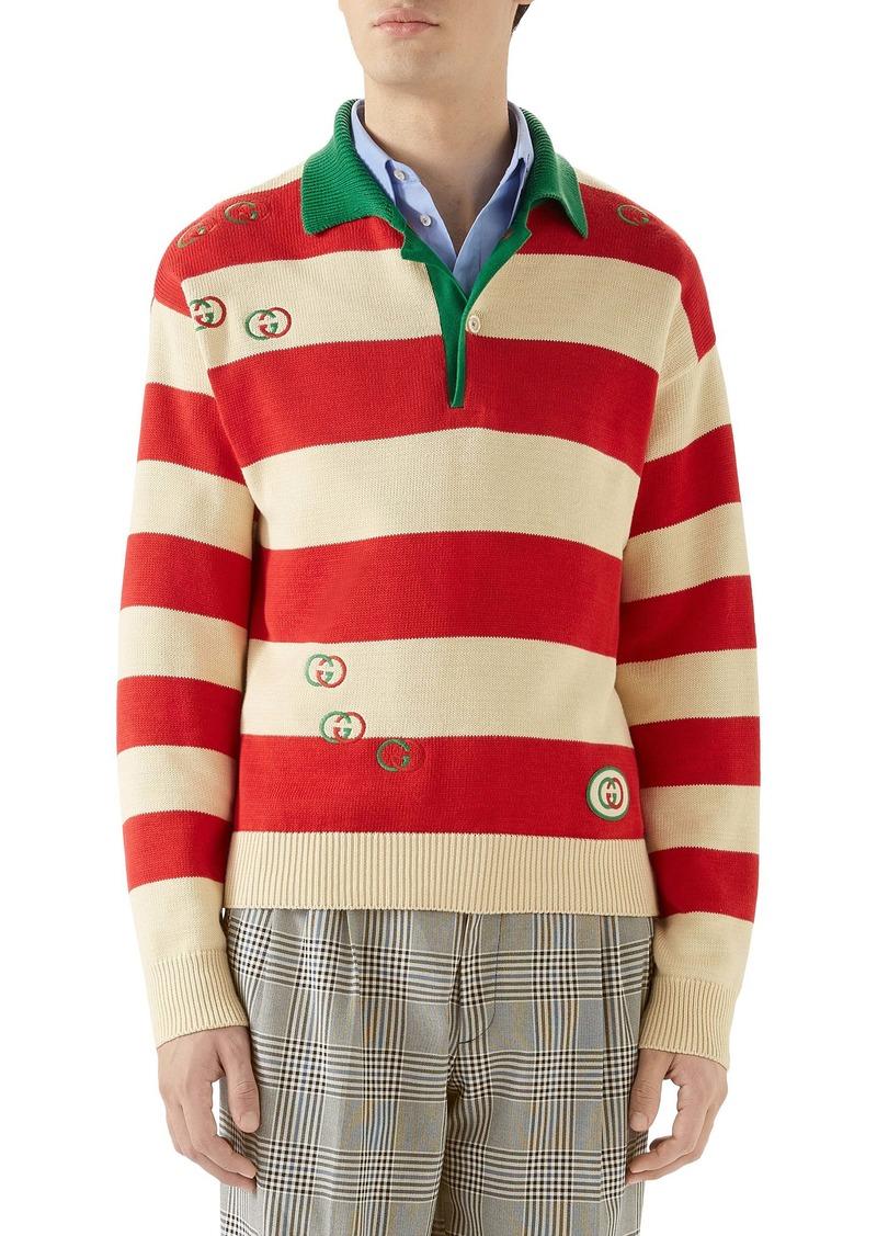 Gucci Interlocking-G Embroidered Cotton Polo Sweater