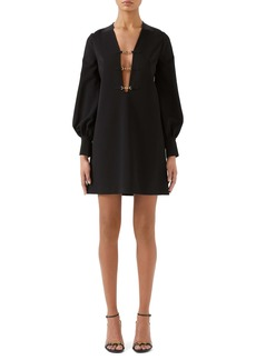 Gucci Interlocking-G Horsebit Long Sleeve Compact Stretch Jersey Minidress