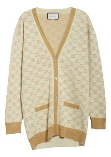 Gucci Interlocking-G Metallic Jacquard Wool Cardigan