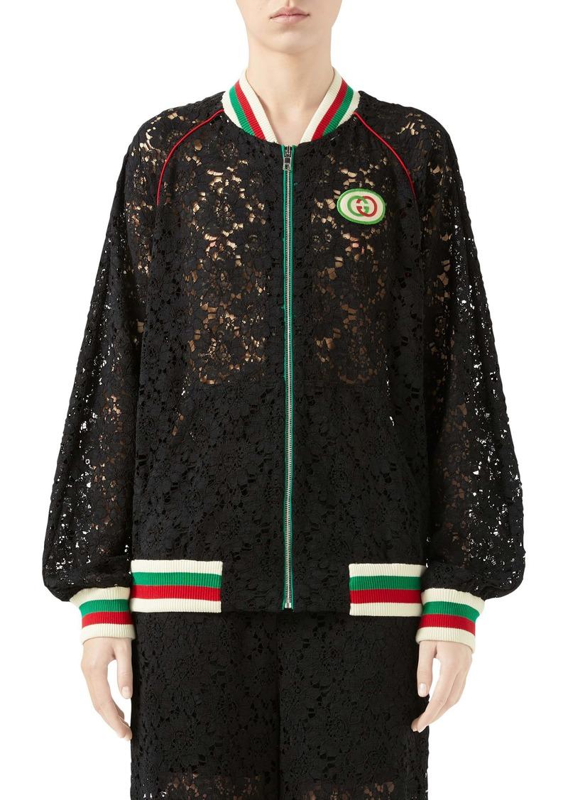 Gucci Interlocking-G Patch Lace Bomber Jacket