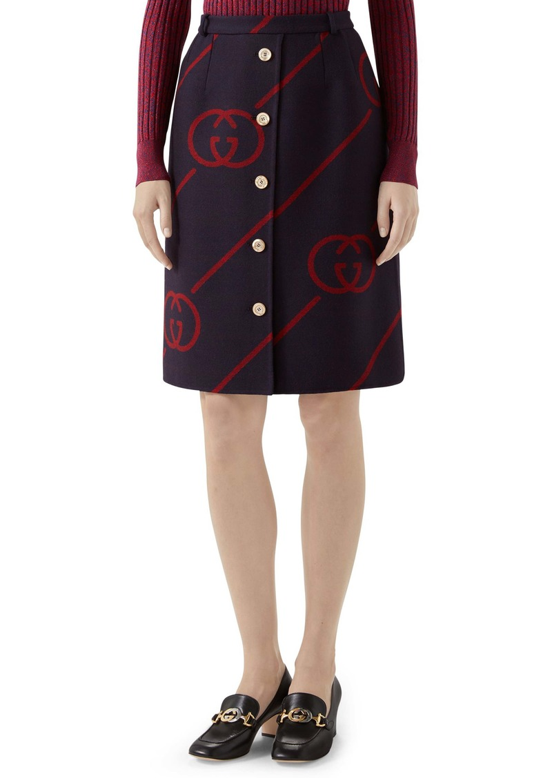 Gucci Interlocking-G Print Reversible Wool & Silk Skirt