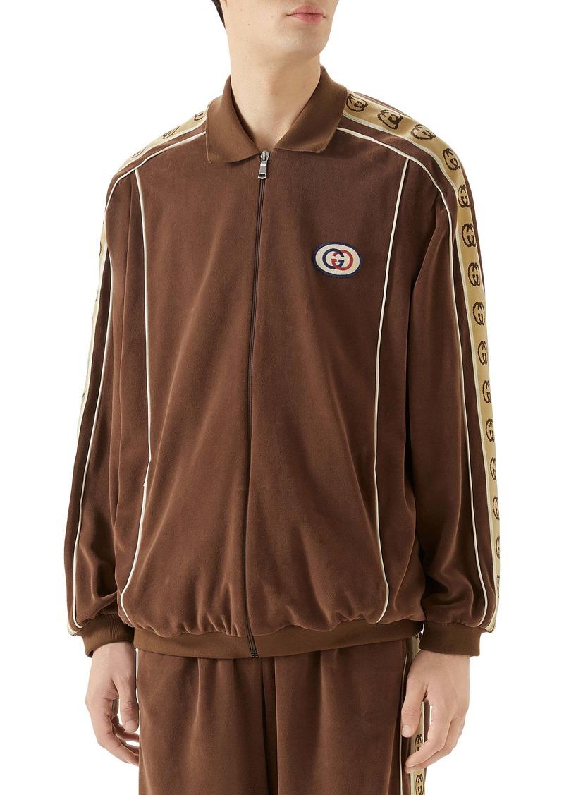 Gucci Interlocking-G Stripe Velour Jacket
