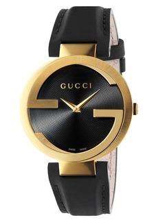 Gucci Interlocking G Leather Strap Watch, 37mm
