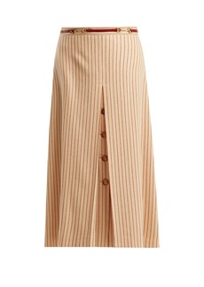 Gucci Inverted-pleat pinstripe wool midi skirt
