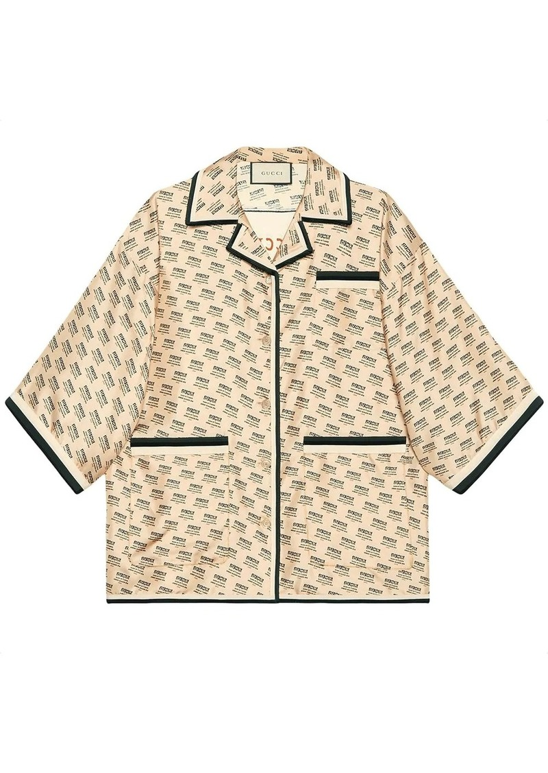 Gucci invite stamp silk shirt