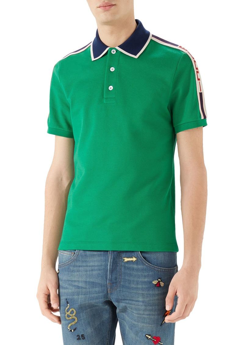 4ee175325 Gucci Gucci Jacquard Stripe Sleeve Piqué Polo