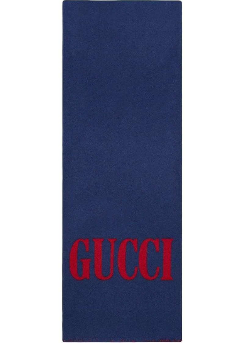 Gucci jacquard wool silk scarf