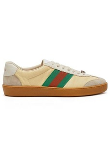 Gucci JBG leather and suede low-top trainers