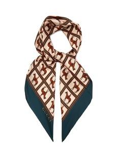 Gucci Jockey-print silk-twill scarf