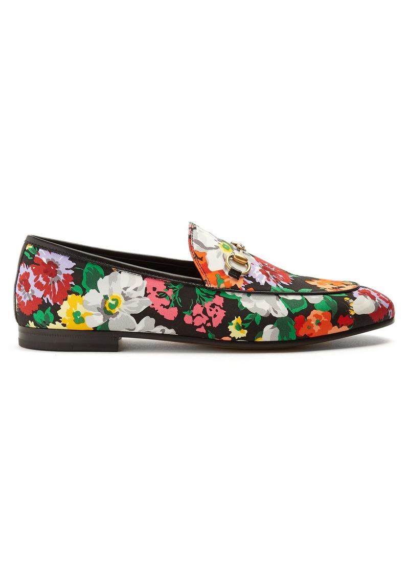 Gucci Gucci Jordaan floral-print satin loafers  1f78cb60f