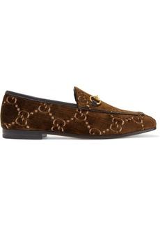 Gucci Jordaan horsebit-detailed leather-trimmed velvet-jacquard loafers