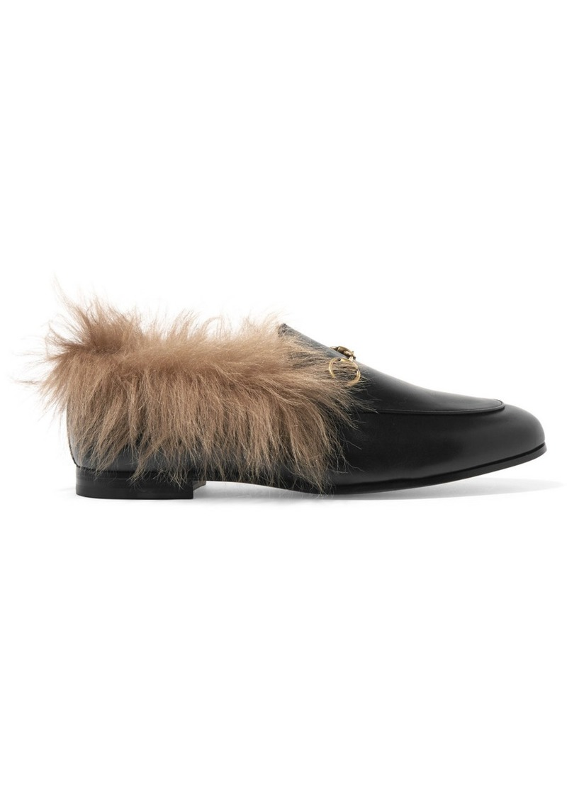 b640cfcf049 Gucci Jordaan Horsebit-detailed Shearling-lined Leather Loafers