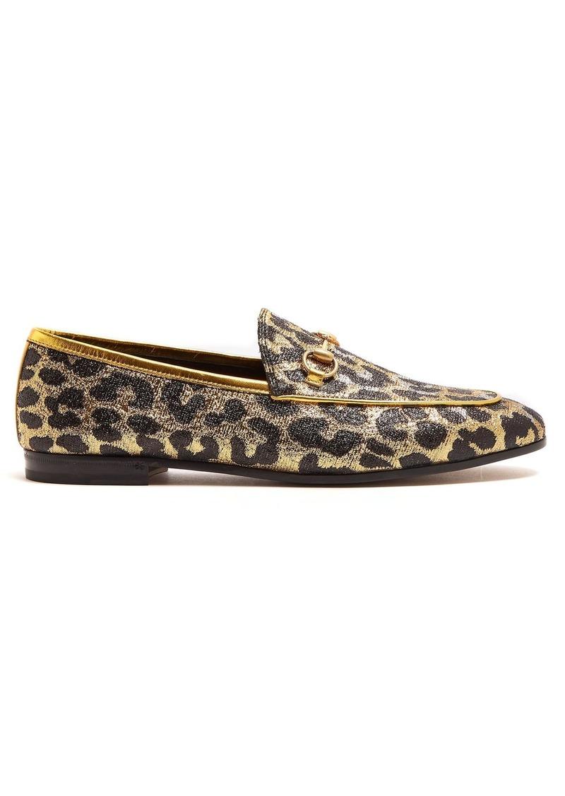5c3e832469b Gucci Gucci Jordaan leopard-jacquard loafers