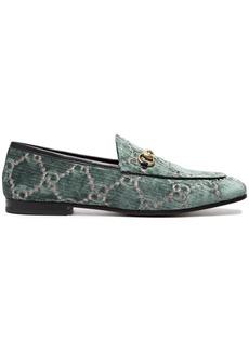 Gucci Blue Logo Jordaan velvet loafers