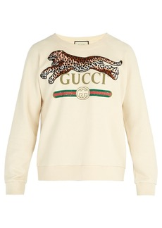 Gucci Jumping Leopard-appliqué cotton sweatshirt