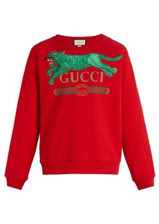 Gucci Jumping tiger-appliqué crew-neck cotton sweatshirt