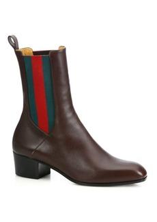 Gucci Karen Stripe Leather Booties