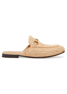Gucci King woven-straw backless loafers