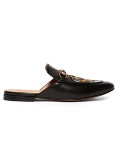 Gucci Kings tiger-appliqué backless leather loafers
