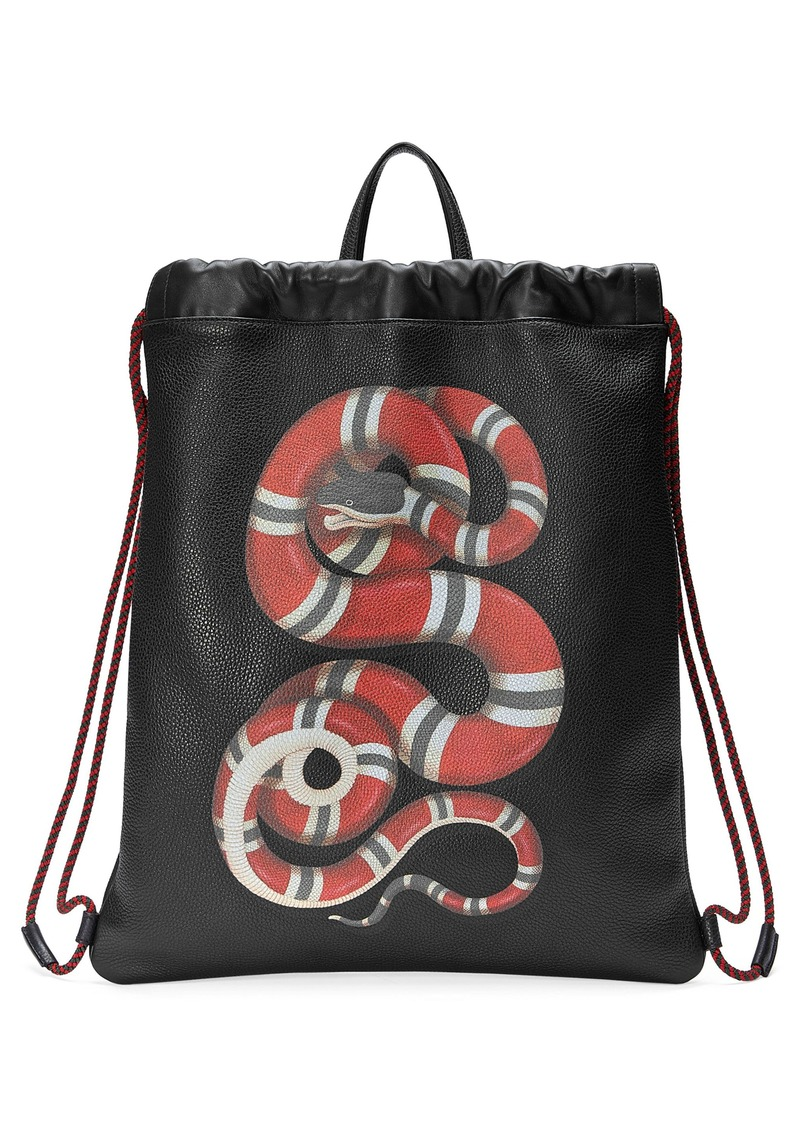 eff1d6f0bf5f Gucci Gucci Kingsnake Leather Drawstring Backpack | Bags