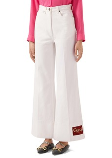 Gucci Label High Waist Flare Jeans