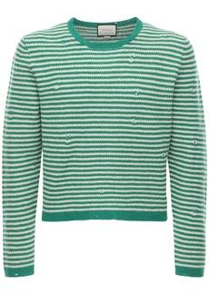 Gucci Label Striped Wool Knit Sweater
