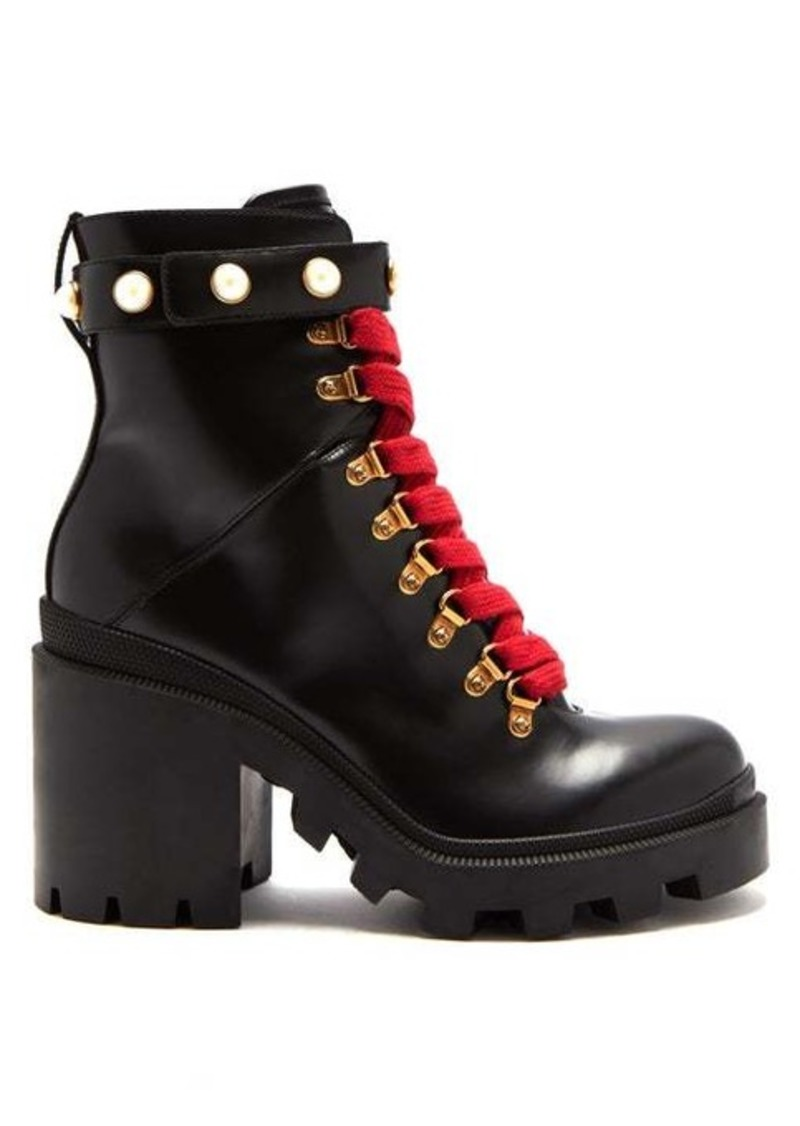 Gucci Lace-up leather ankle boots