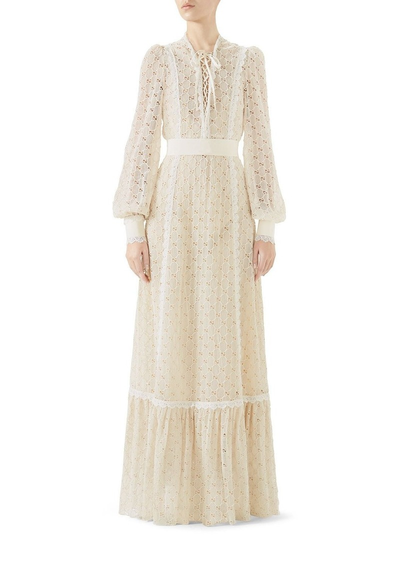 ff74798d5 Gucci Gucci Lace-Up Long-Sleeve Macramé Long Dress | Dresses