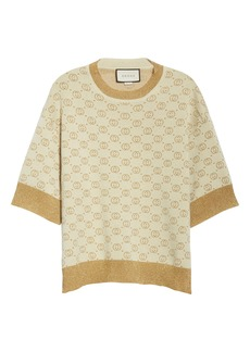 Gucci Lamé Logo Jacquard Wool Sweater