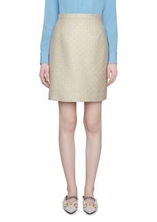 Gucci Lamé Logo Wool Blend Miniskirt