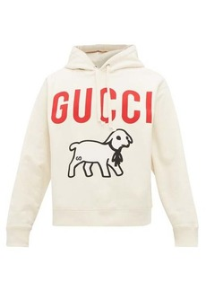 Gucci Lamb and logo-print cotton hooded sweatshirt