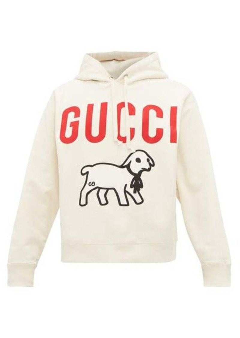 Gucci Lamb and logo-print cotton hooded sweatshirt