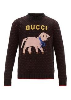 Gucci Lamb logo-intarsia wool sweater