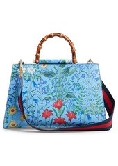 6768f63950f Gucci Gucci Large Nymphaea New Flora Print Leather Top Handle Tote ...