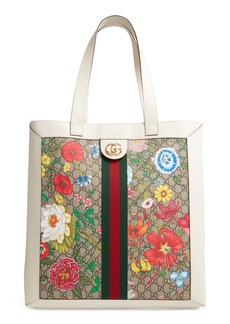 Gucci Large Ophidia Floral GG Supreme Canvas & Leather Tote