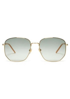 Gucci Lasered-logo square metal sunglasses
