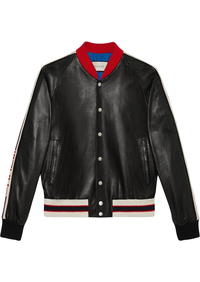 Gucci Leather bomber jacket with appliqué  026adefdb4