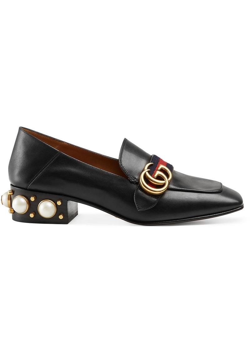 Gucci mid-heel leather loafer